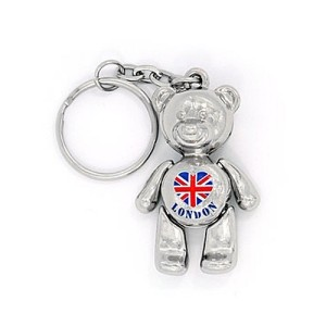 Metal London Teddy Bear Keyring