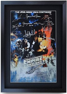 Framed Star Wars Movie Poster Empire Strikes Back Cast Signed Print A3