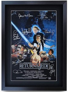 Framed Star Wars Movie Poster Return of the Jedi Cast Signed Print A3