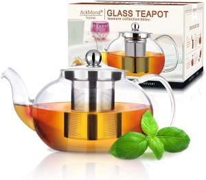 Clear Borosilicate Glass Teapot with Stainless Steel Infuser & Lid 800ml