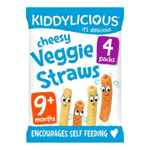 Kiddylicious Cheesy Veggie Straws, 9 months+, Multipack 4 x 12g