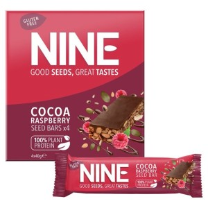 9 Nine Double Cocoa Raspberry Seed Bars Multipack 4 x 40g