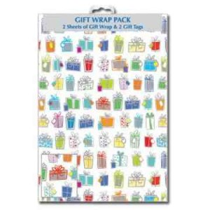 "Designer ""Presents"" Gift Wrap Pack 2 Sheets & 2 Tags 50 x 70cm"