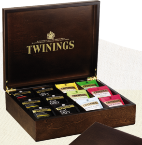 Twinings 12 Compartment Wooden Tea Caddy Chest Filled 96 Tea Bags
