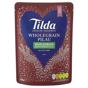 Tilda Wholegrain Pilau Brown Basmati Rice Gluten Free 250g