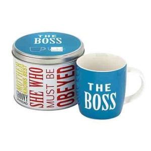 Blue 'The Boss' slogan mug