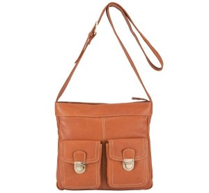 John Lewis Front Pocket Detail Crossbody Bag, Tan