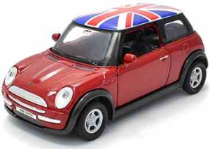 Pullback Dark Red Union Jack Mini Cooper Model Car