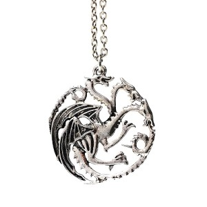 Game of Thrones Targaryen Sigil 3 Headed Dragon Metal Pendant with Necklace