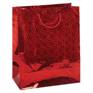 Large Holographic Gift Bag - Red, Gold, Silver, Blue
