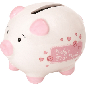 Baby's First Small Ceramic Piggy Bank in a Gift Box